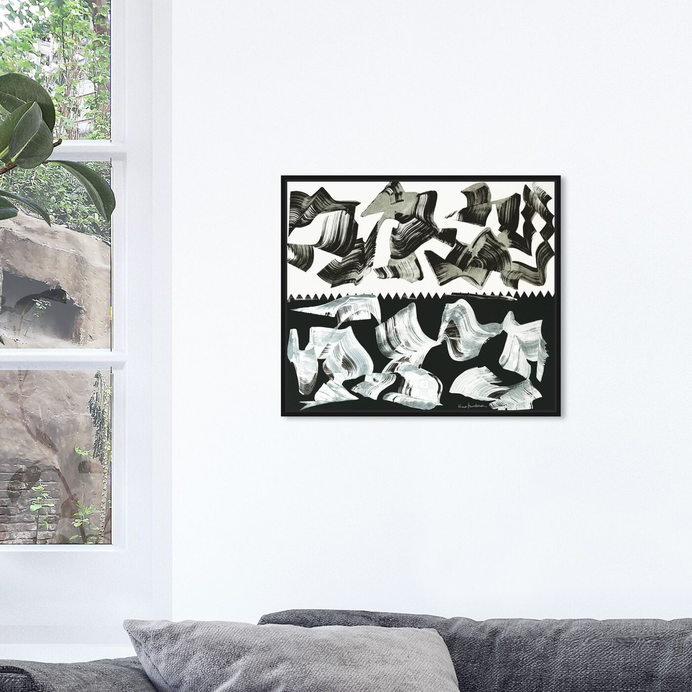 Hanging view of Sai - Ying Yang 3NM1132 featuring abstract and paint art.
