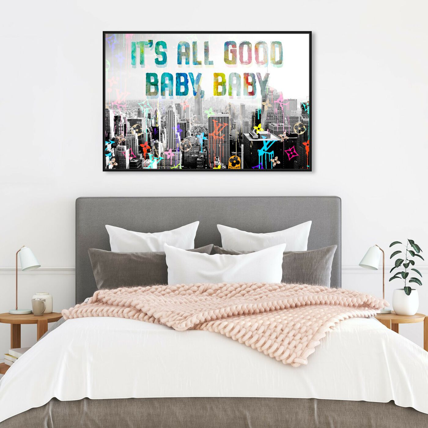 Hanging view of All Good featuring typography and quotes and quotes and sayings art.