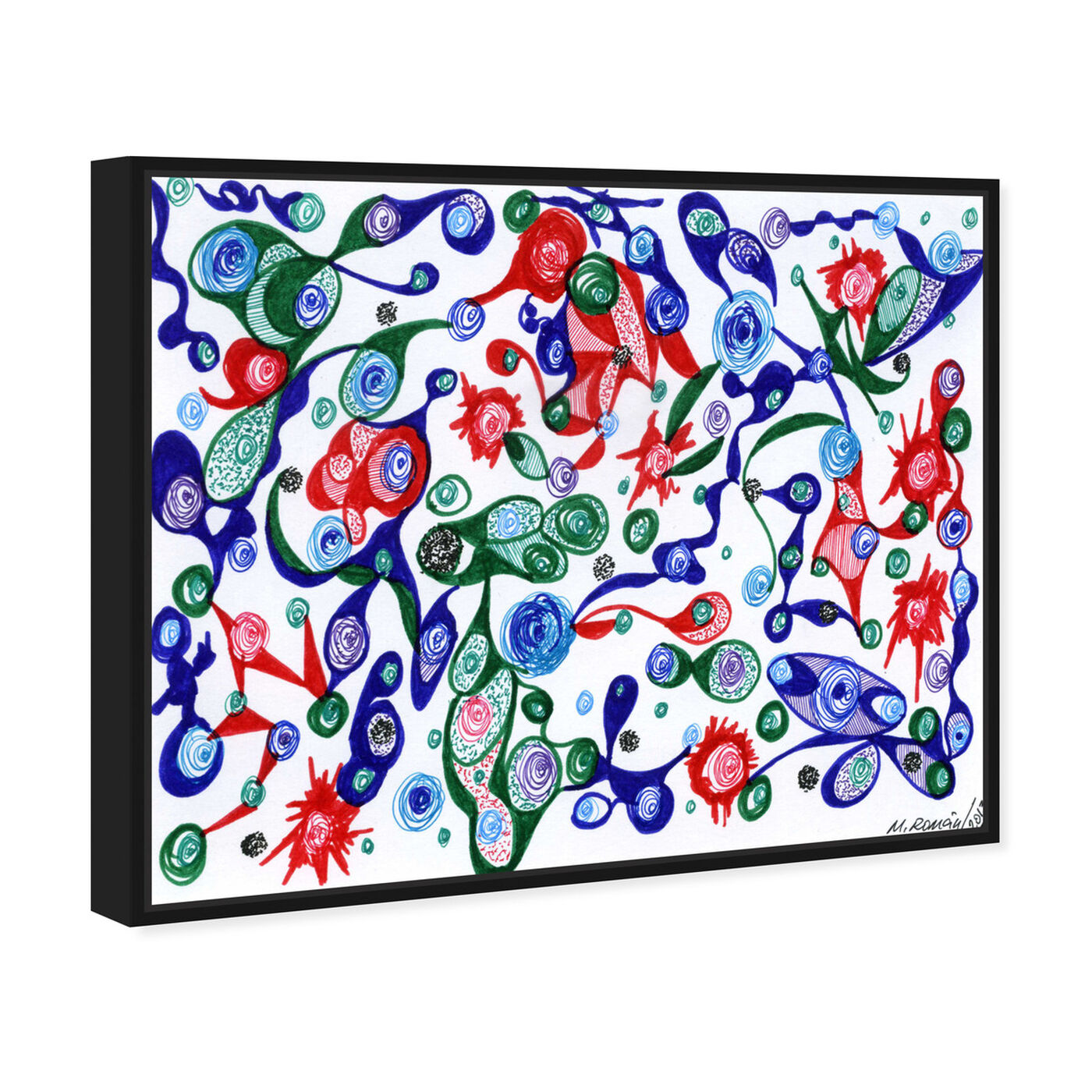 Angled view of Strawberry Patch featuring abstract and geometric art.