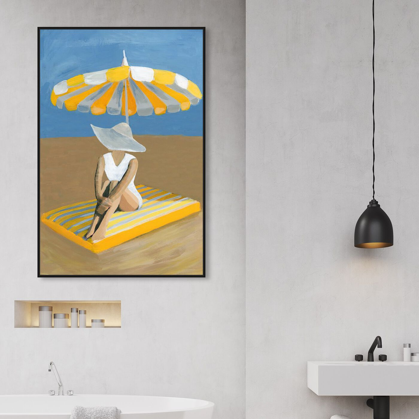 Hanging view of Yellow Umbrella featuring fashion and glam and swimsuit art.