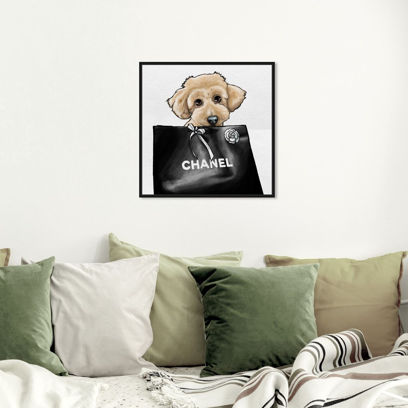 Hanging view of Poodle Glam Beige featuring fashion and glam and fashion art.