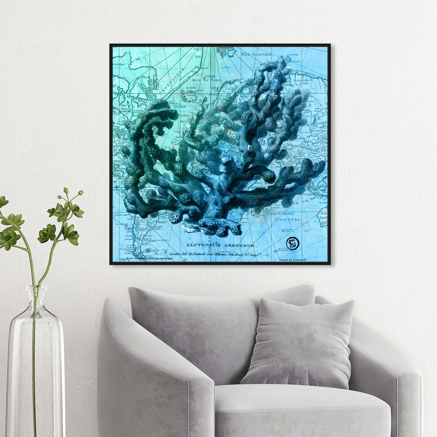 Hanging view of Oceana featuring nautical and coastal and marine life art.