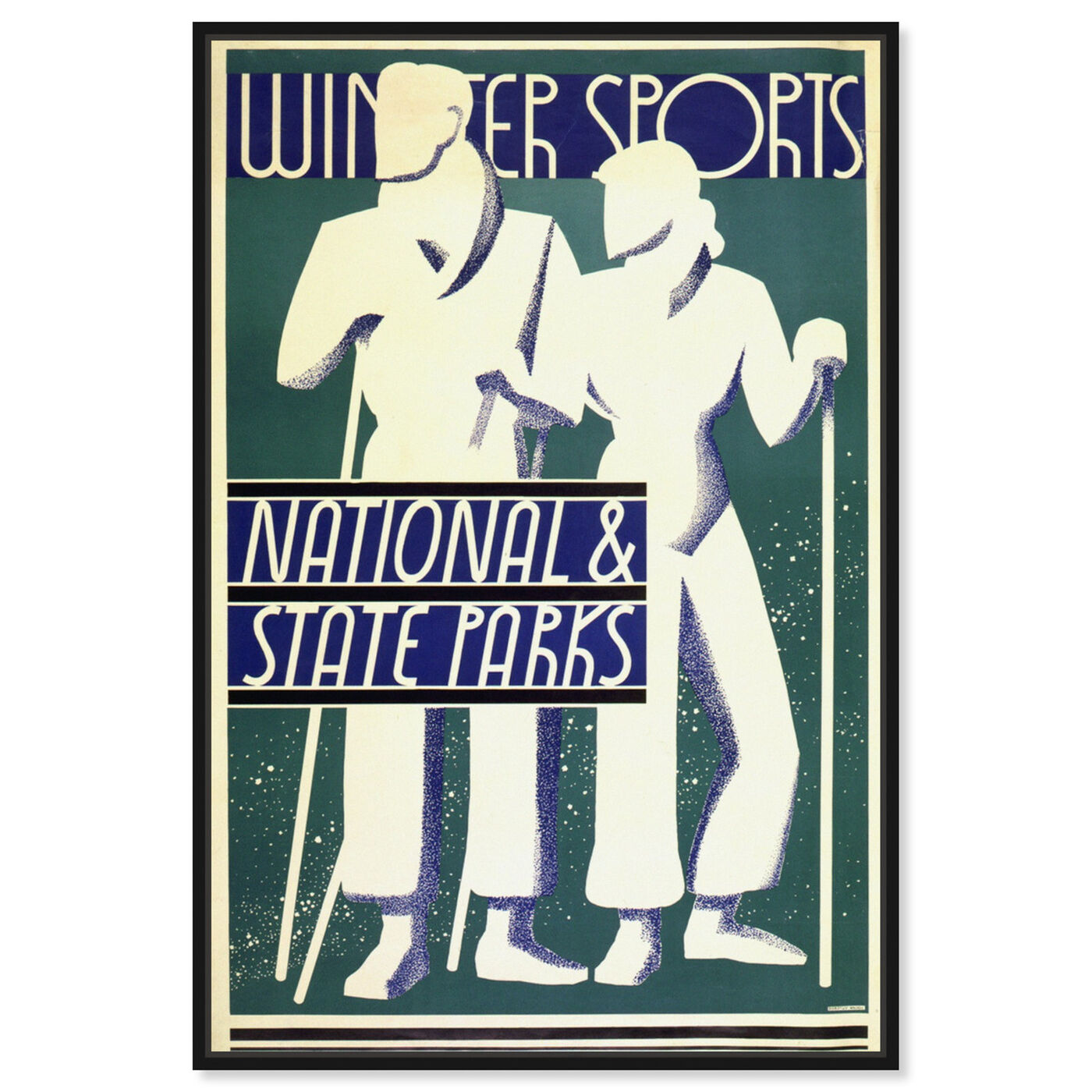 Front view of National and State Parks featuring advertising and posters art.