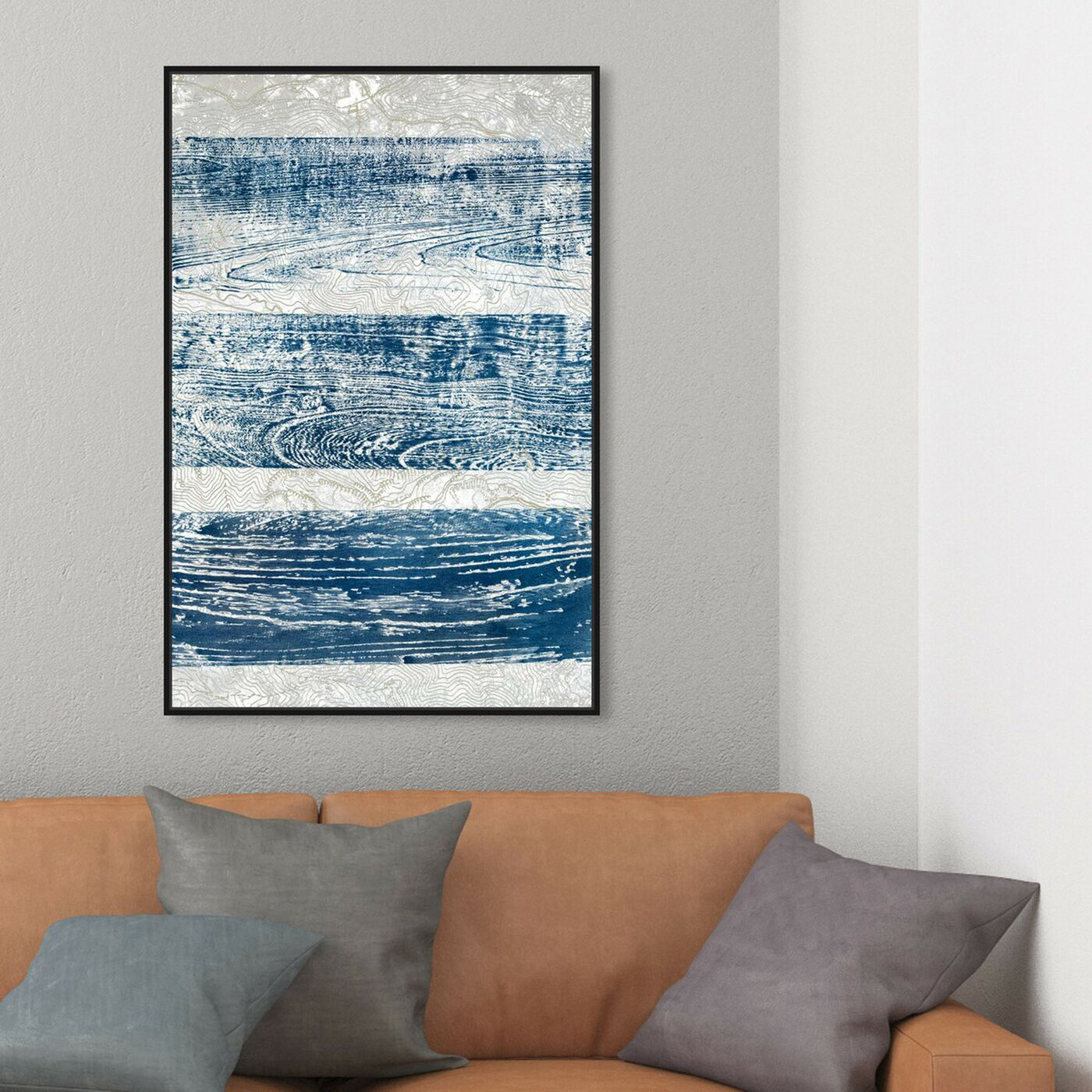 Hanging view of Trails From The Blue - Signature Collection featuring abstract and paint art.