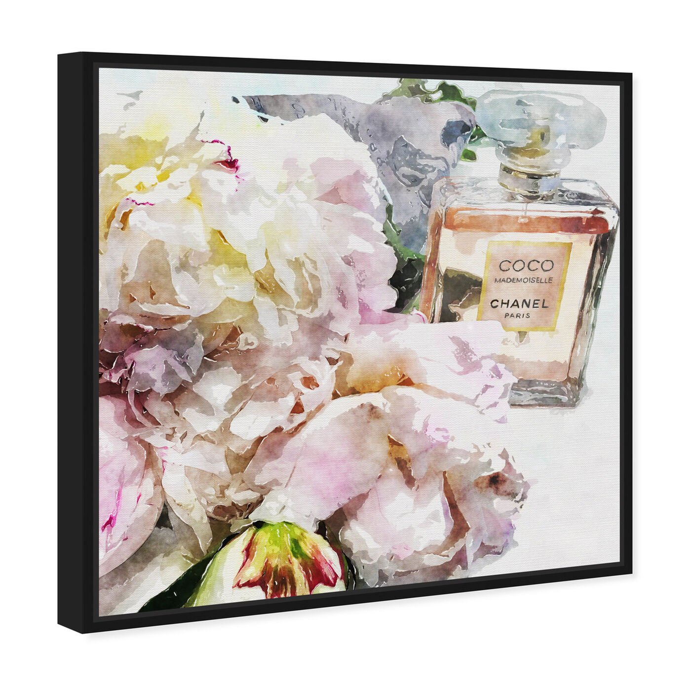 Angled view of Peonies and Coco Dark featuring floral and botanical and florals art.