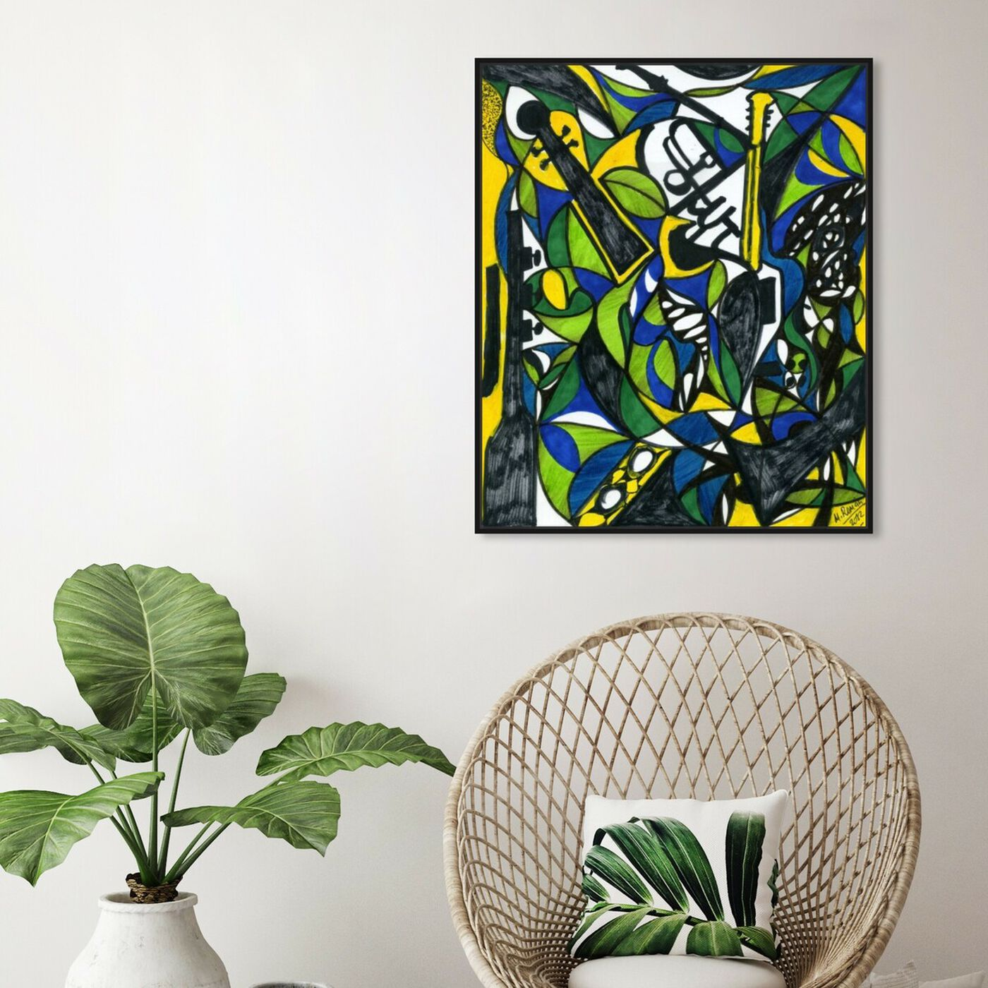 Hanging view of The Musicians featuring abstract and shapes art.