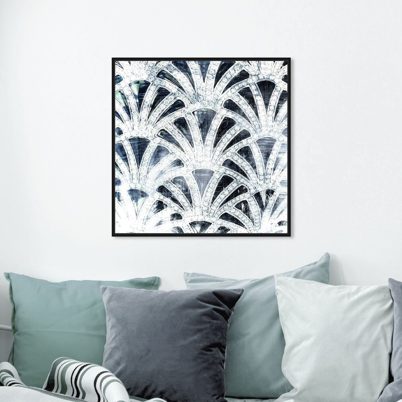 Hanging view of Diamonds Deco featuring abstract and patterns art.