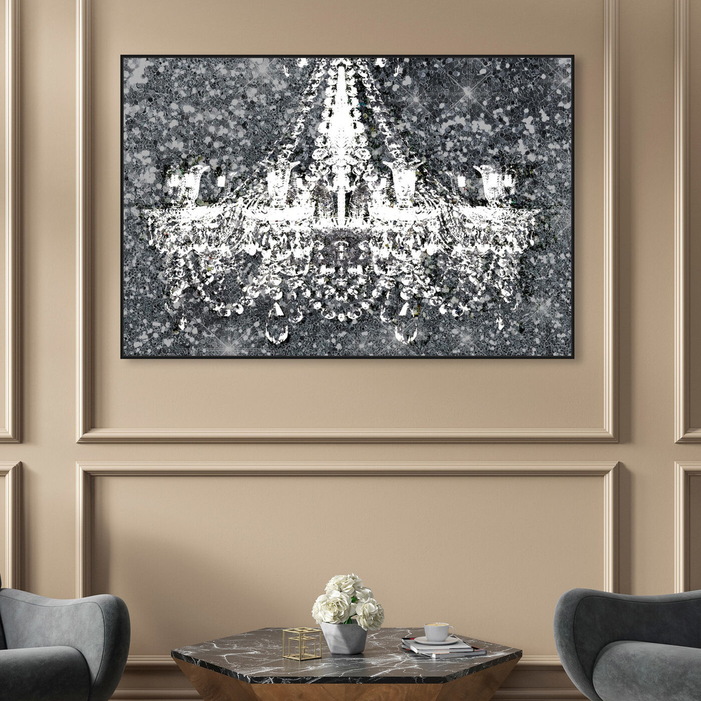 Hanging view of Disco Chandelier featuring fashion and glam and chandeliers art.