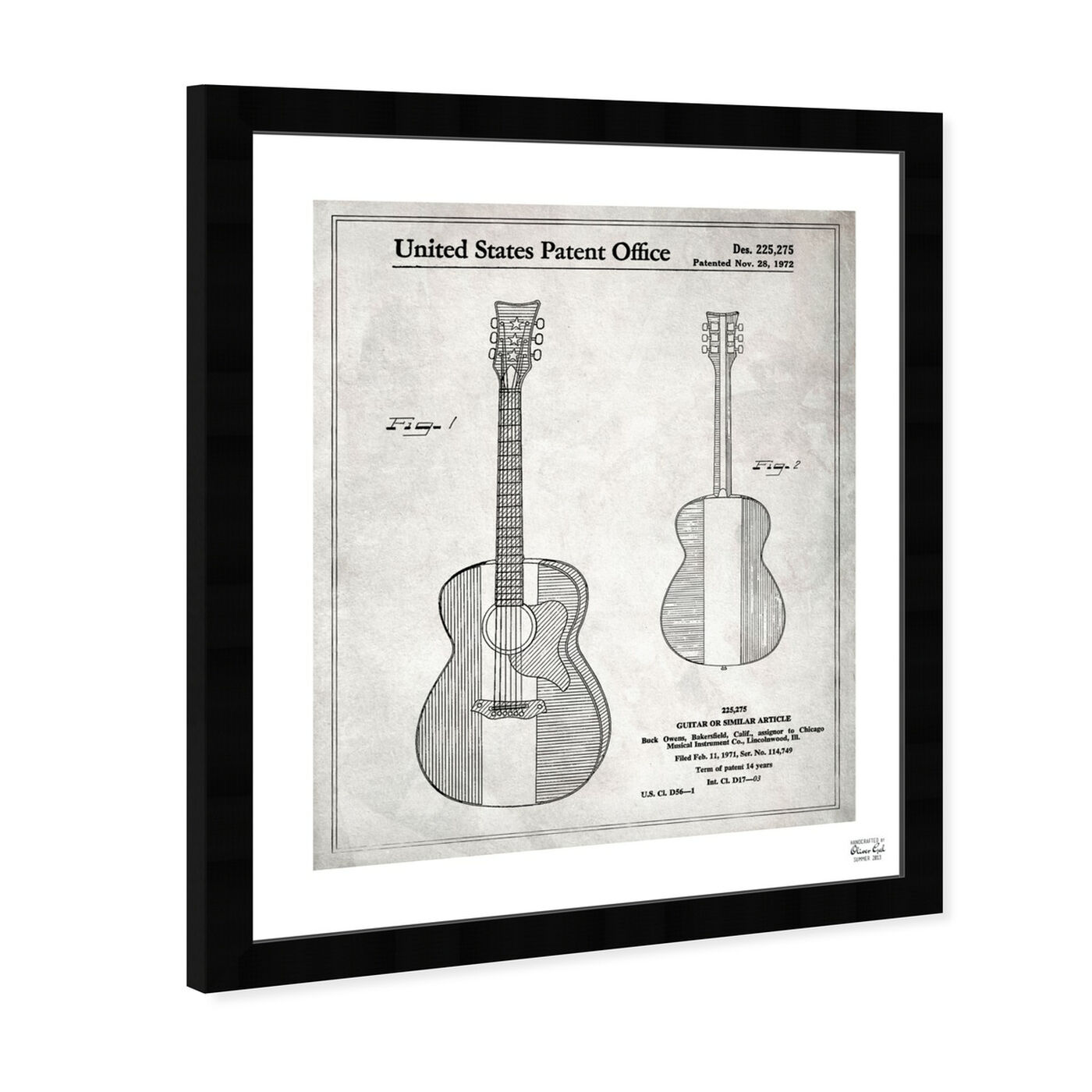 Angled view of Buck Owens Guitar 1972 I featuring music and dance and music instruments art.