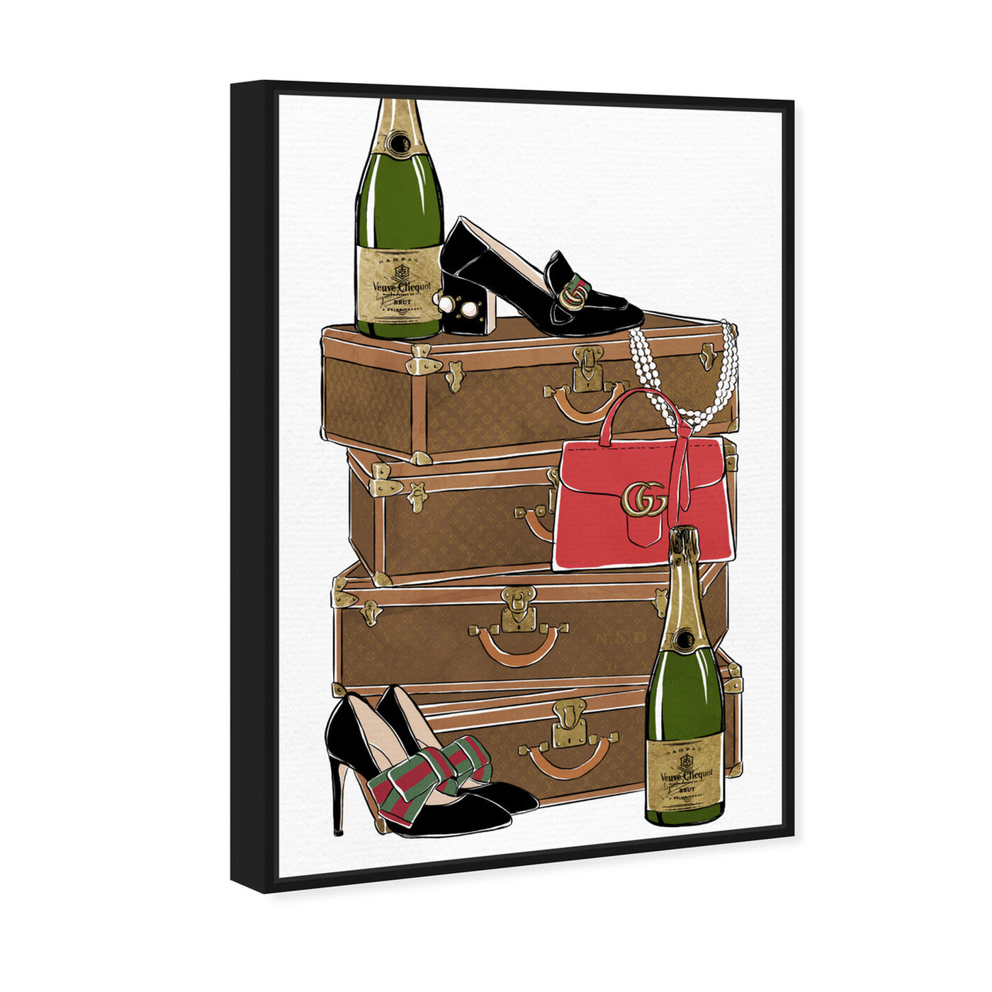 Angled view of Traveling Party featuring fashion and glam and travel essentials art.