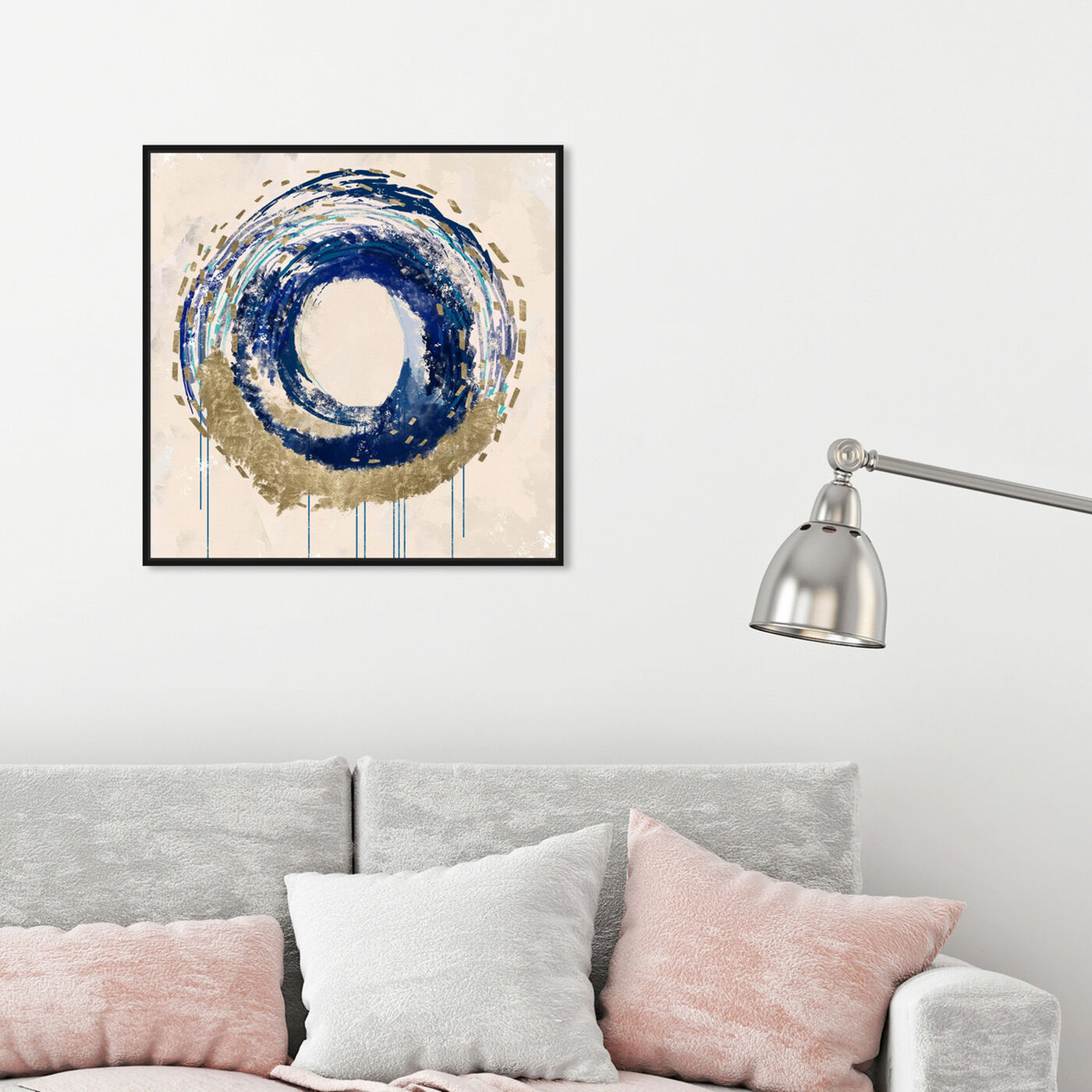Hanging view of Circular Movement featuring abstract and shapes art.