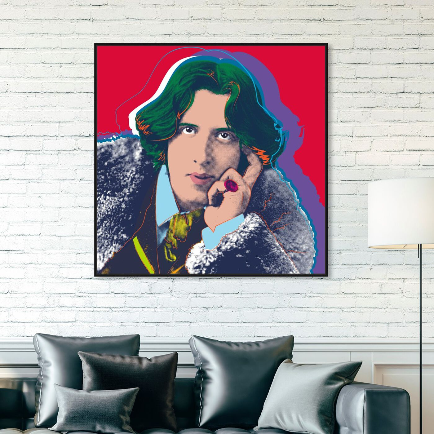 Hanging view of Oscar Wilde featuring people and portraits and celebrities art.