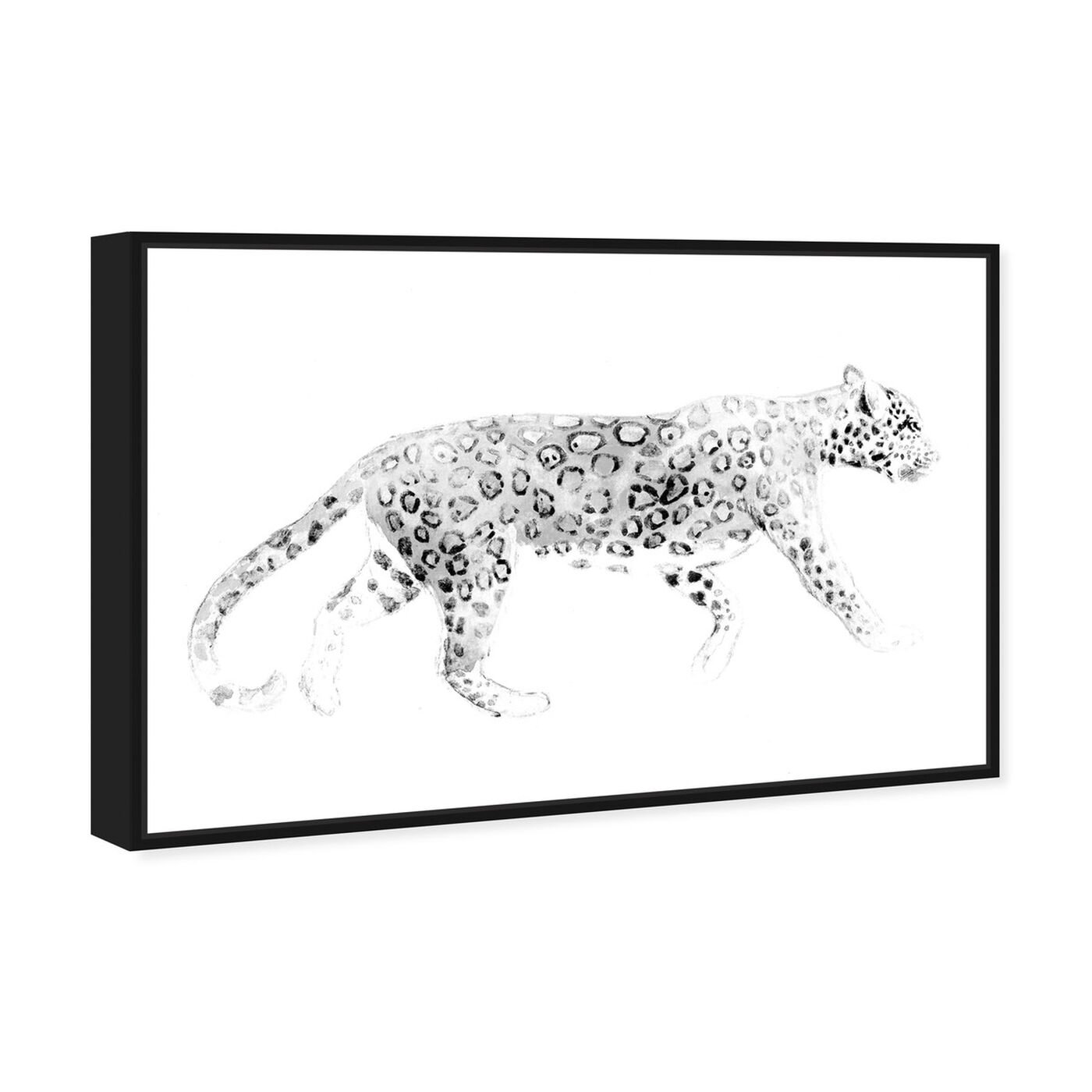 Angled view of Wild Cat Blanc featuring animals and felines art.