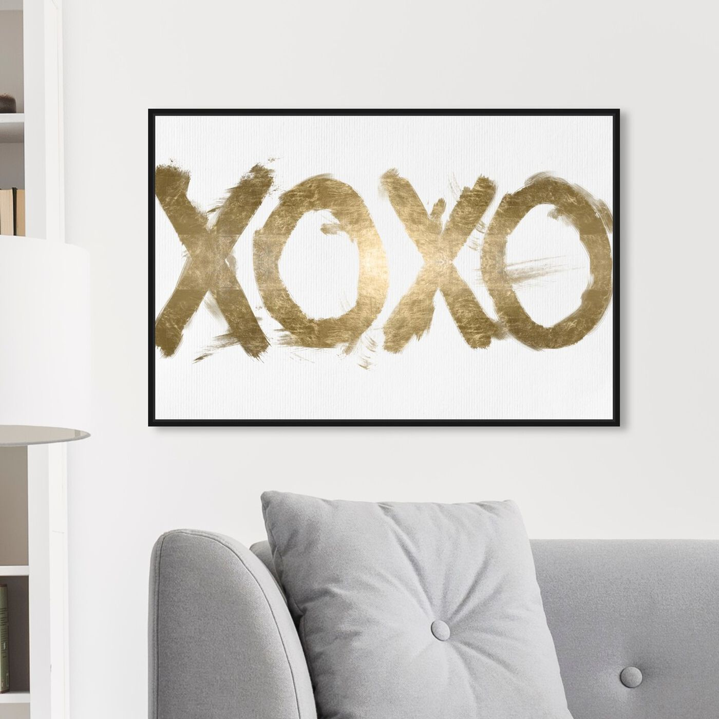 Hanging view of XOXO Solid I featuring typography and quotes and signs art.