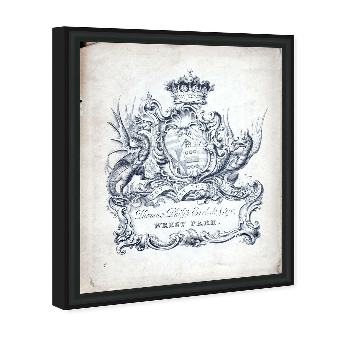 Angled view of Armorial Engravings II featuring classic and figurative and french décor art.