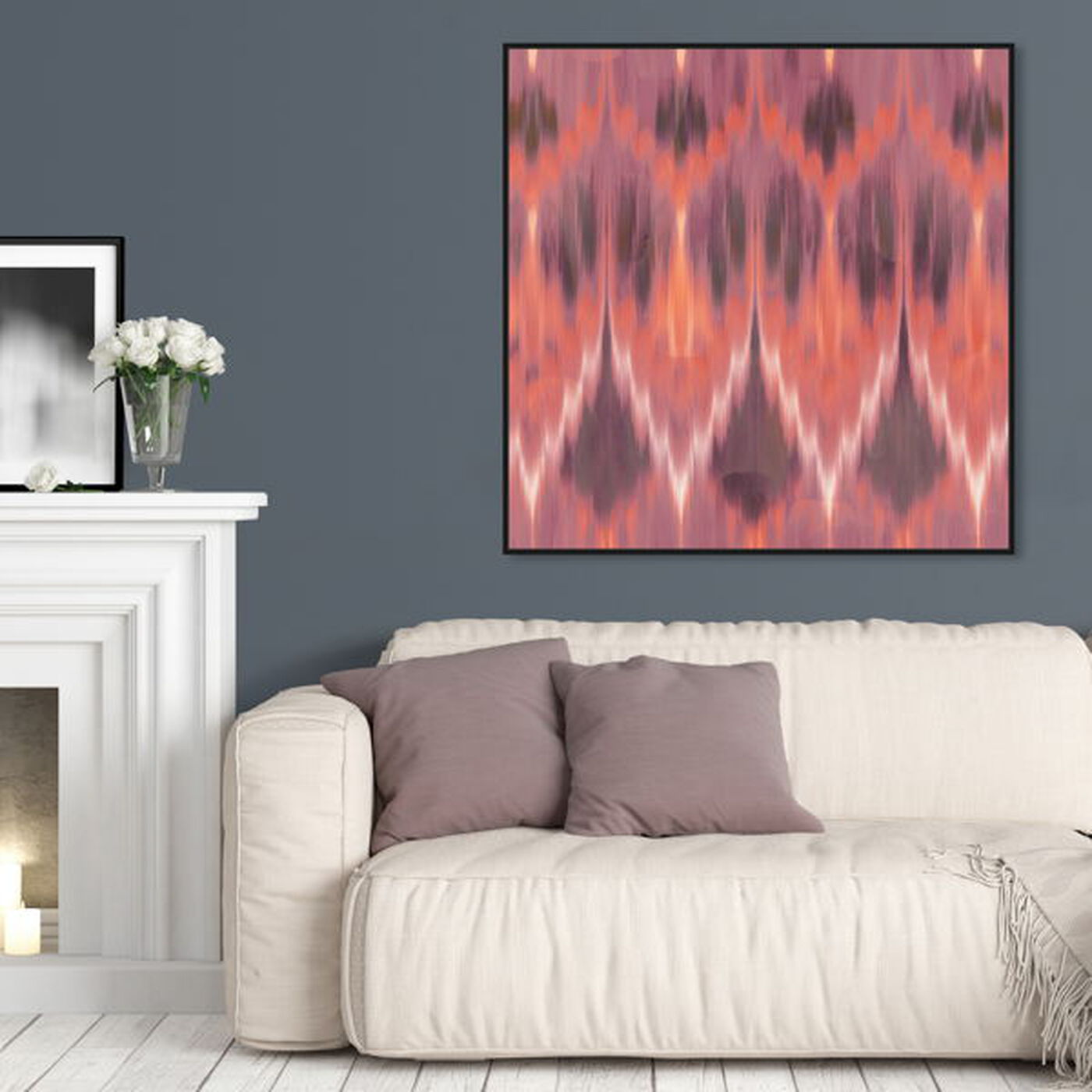 Hanging view of Coral Ikat featuring abstract and patterns art.