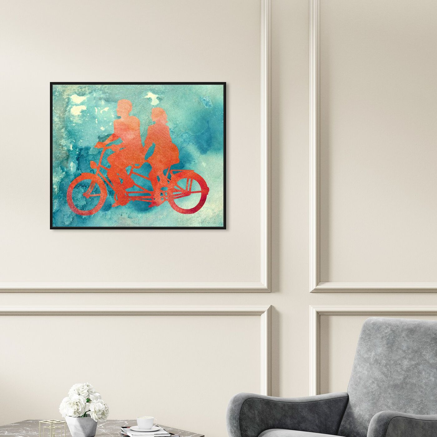 Hanging view of La Bicyclette featuring transportation and bicycles art.