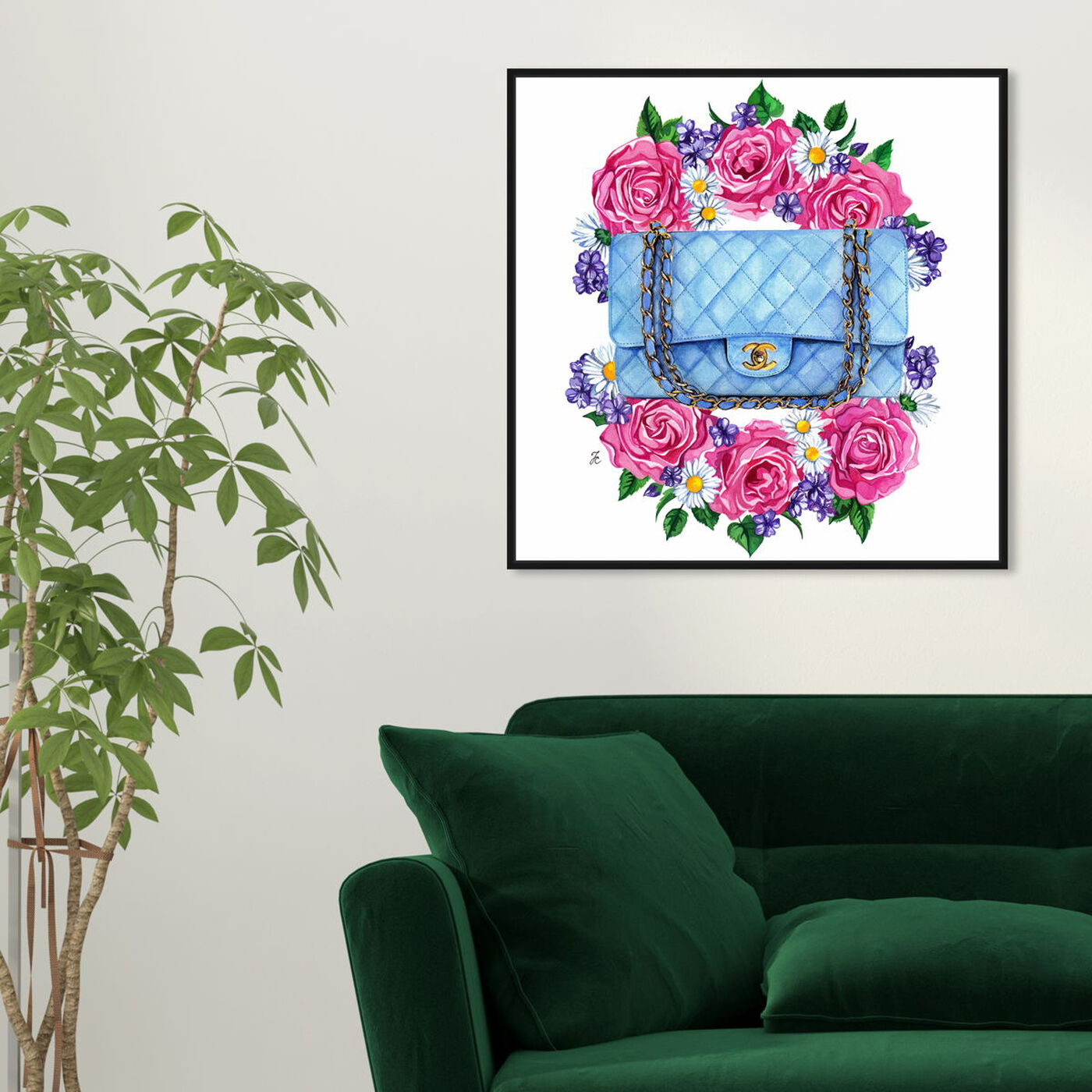 Hanging view of Doll Memories - Pastel Blue Bag featuring fashion and glam and handbags art.