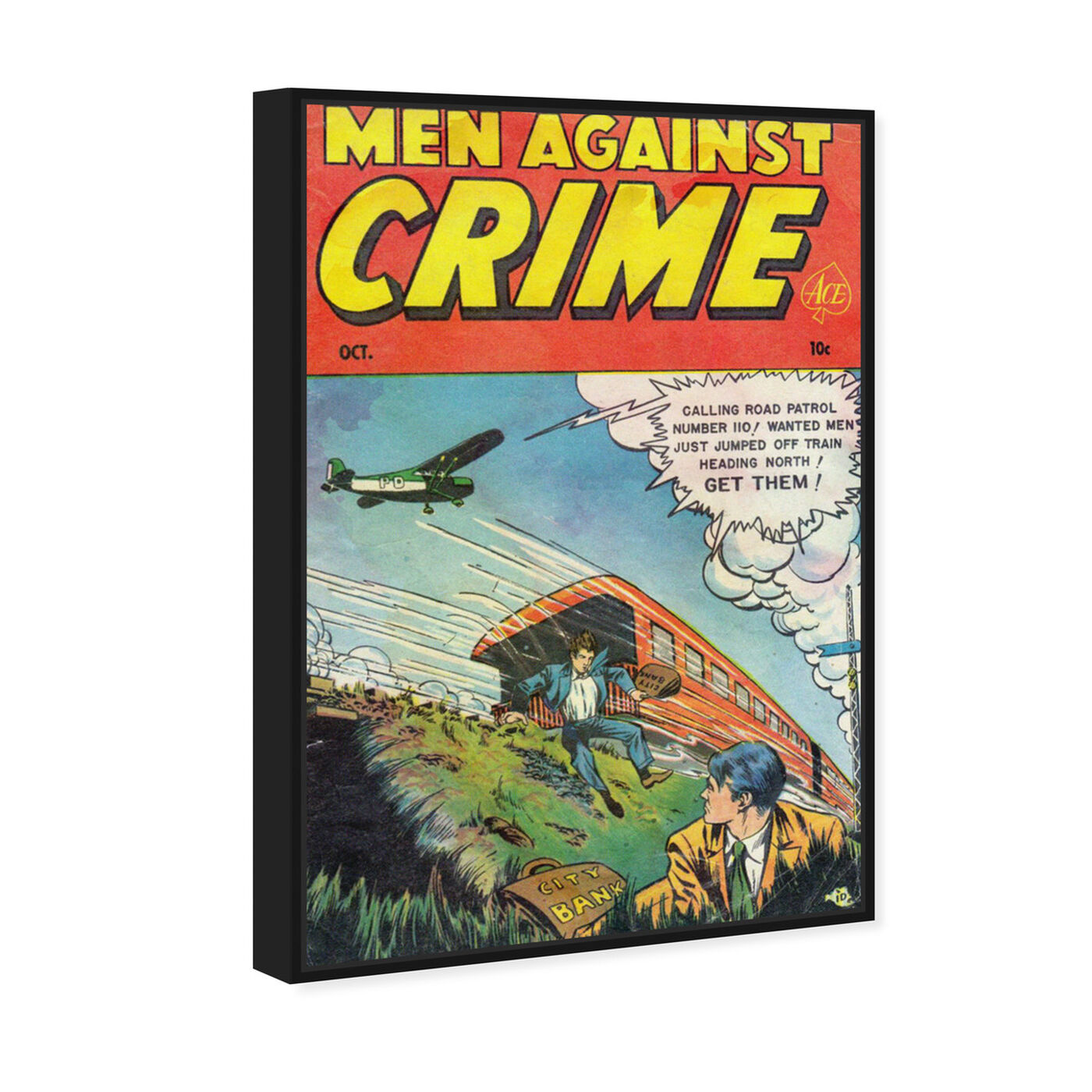 Angled view of Men Against Crime No.7, 1951 featuring advertising and comics art.