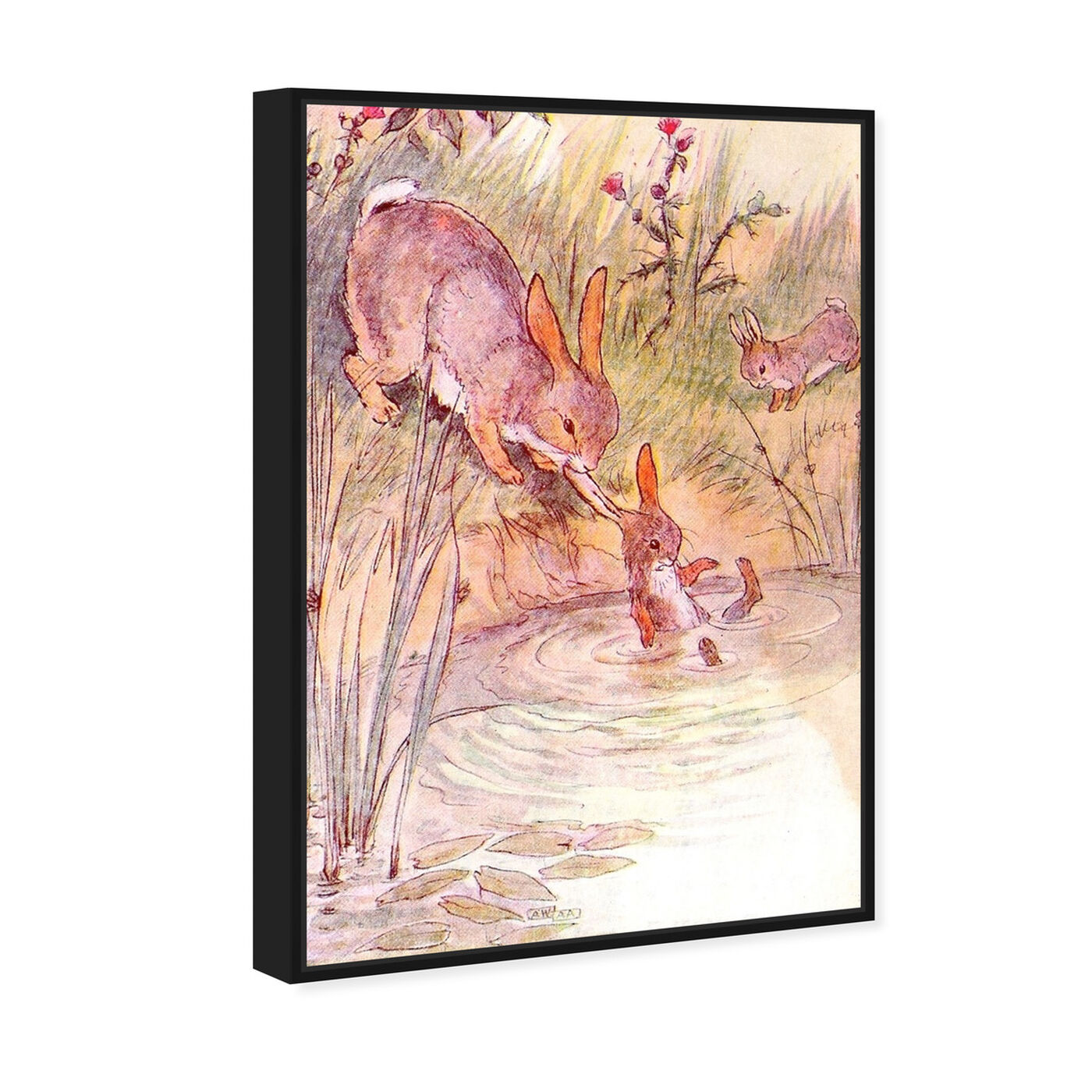 Angled view of Bunny Fell in the Pond featuring animals and farm animals art.