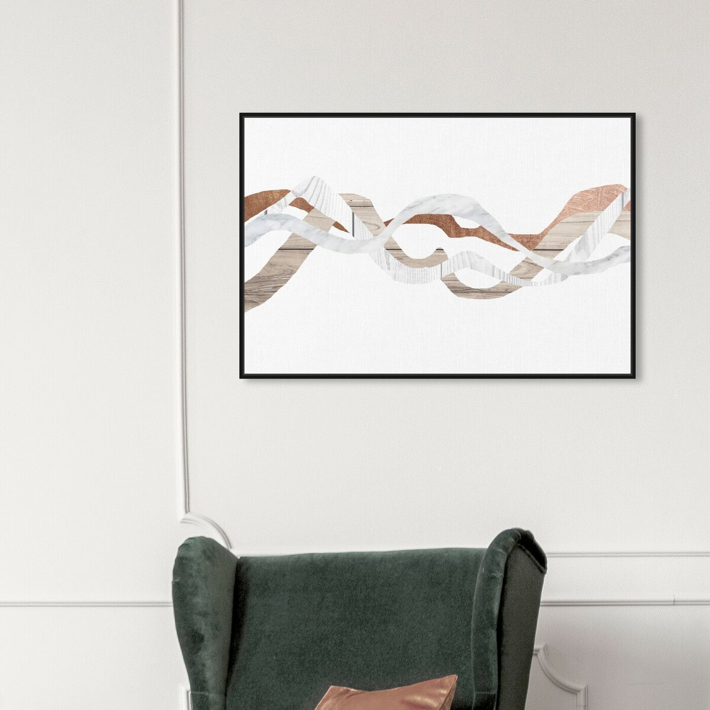 Hanging view of Braids of Copper featuring abstract and paint art.