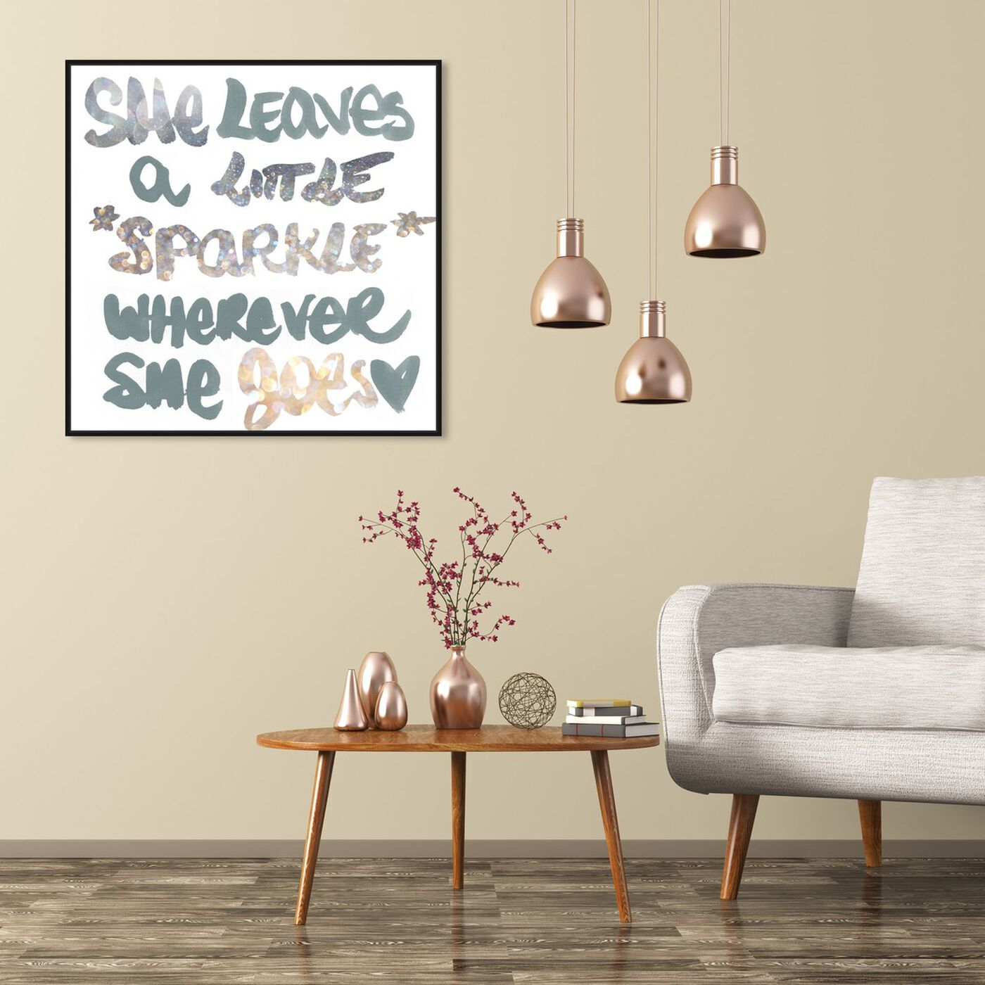 Hanging view of Silver Sparkle featuring typography and quotes and beauty quotes and sayings art.