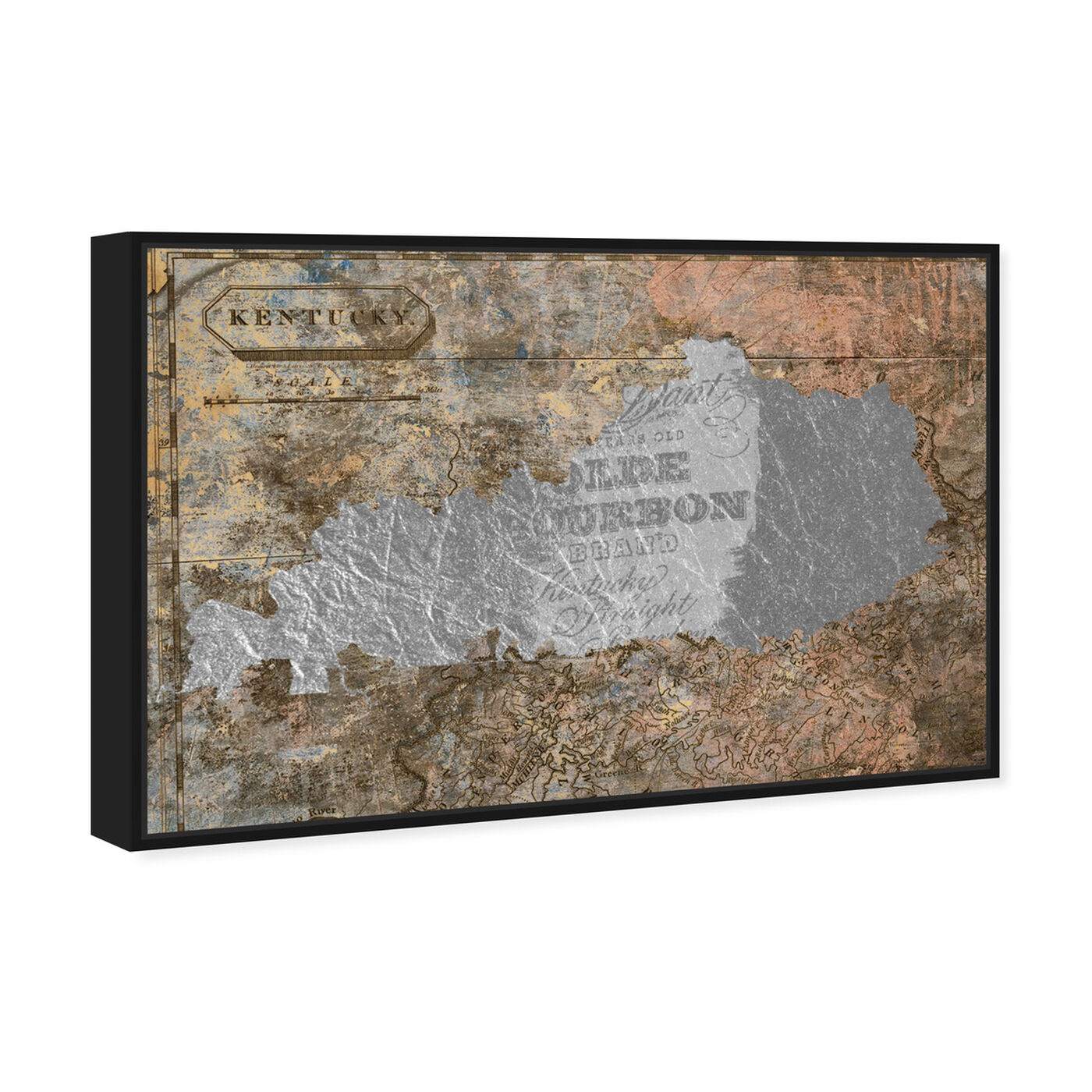 Angled view of Olde Kentucky featuring maps and flags and us states maps art.