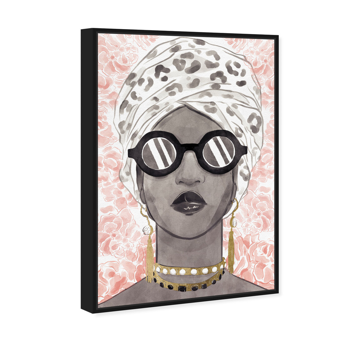 Angled view of Spots and Shades featuring fashion and glam and accessories art.