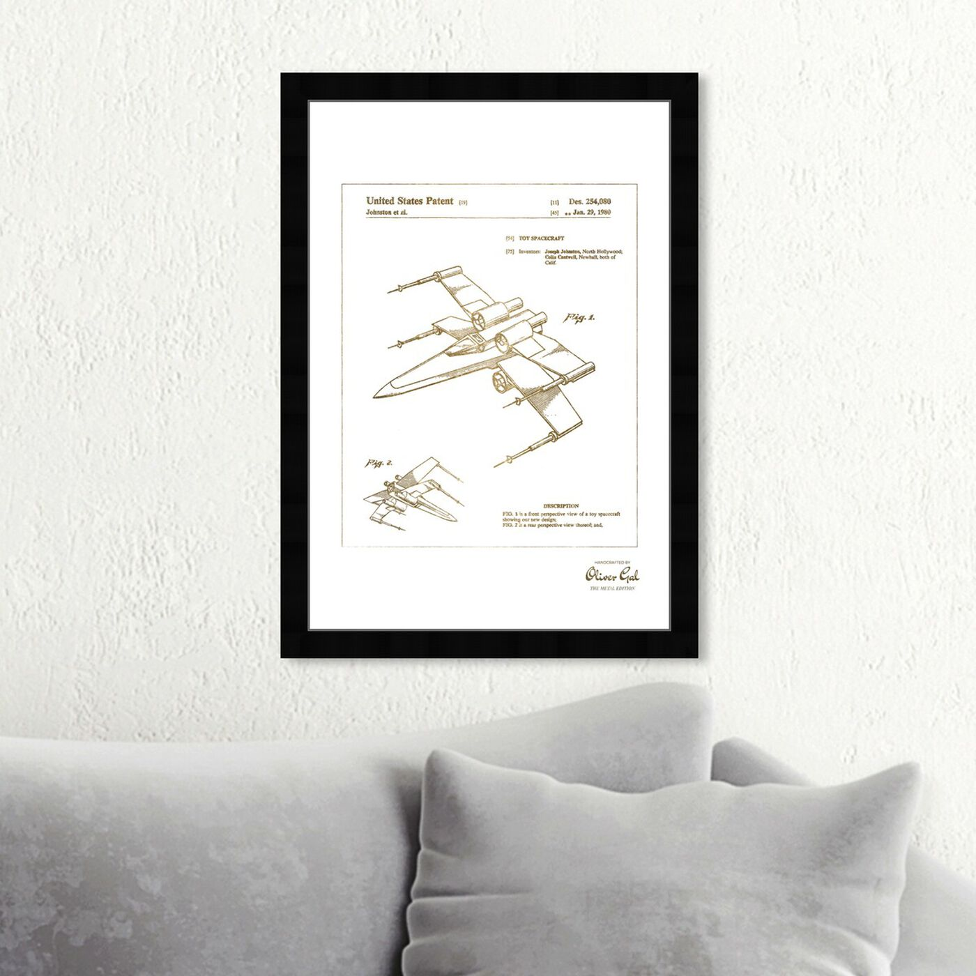 Hanging view of Spacecraft 1980 Gold featuring transportation and air transportation art.
