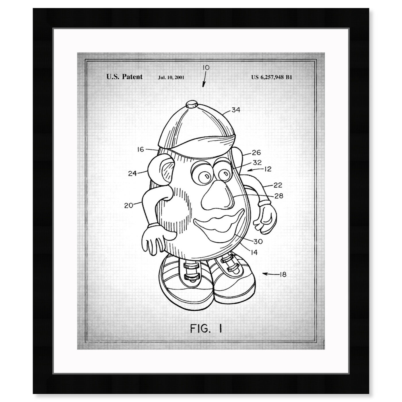 Front view of Mr Potato 1980 Gray featuring symbols and objects and toys art.