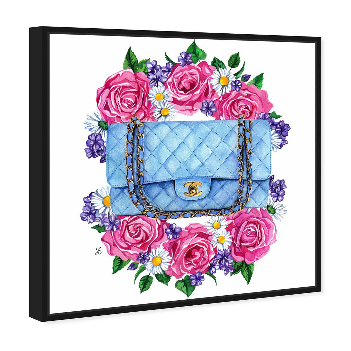 Angled view of Doll Memories - Pastel Blue Bag featuring fashion and glam and handbags art.