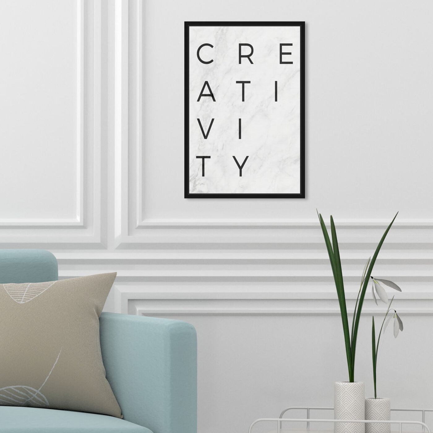 Hanging view of Creativity Minimalist Marble Paper featuring typography and quotes and motivational quotes and sayings art.
