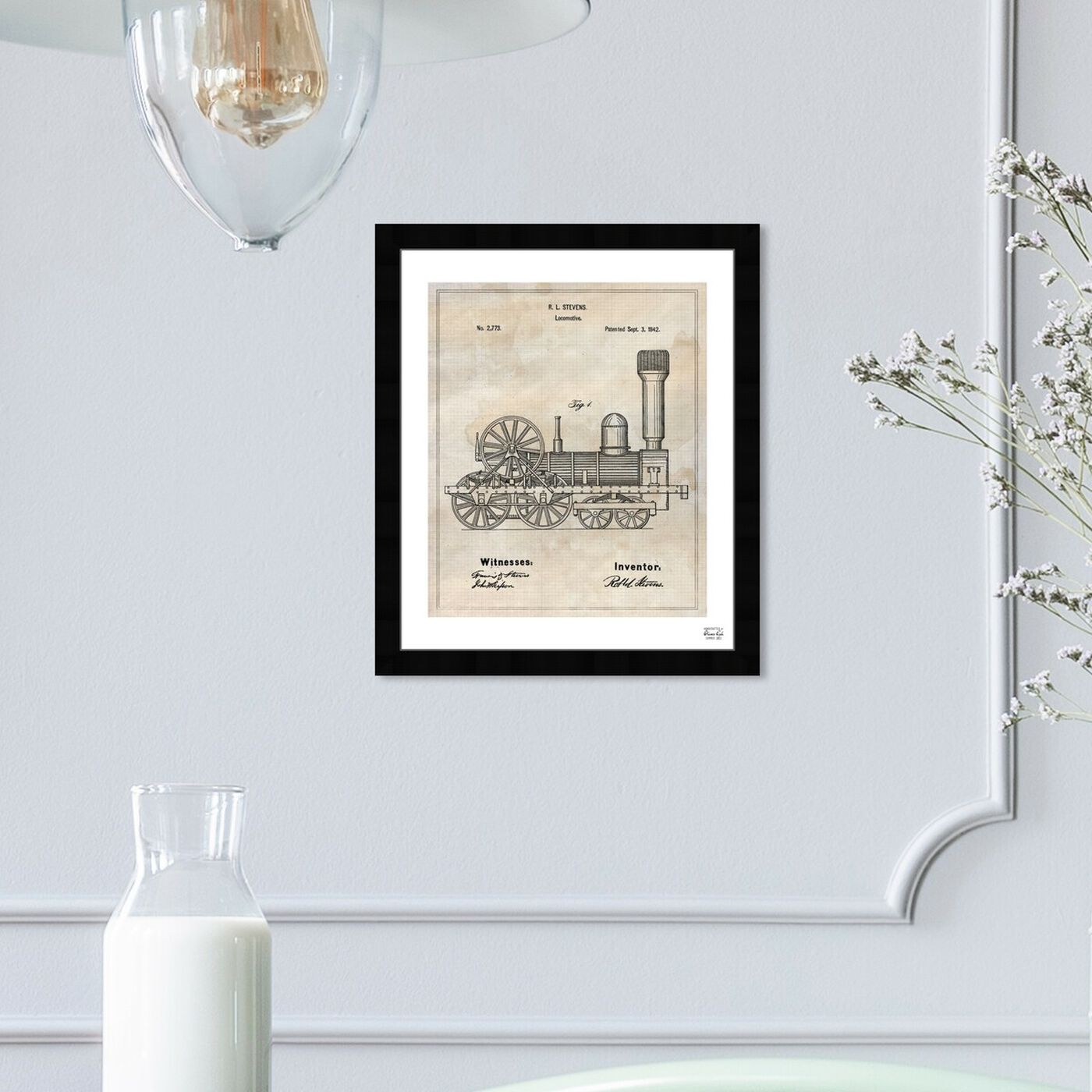 Hanging view of Locomotive 1842 featuring transportation and trains art.