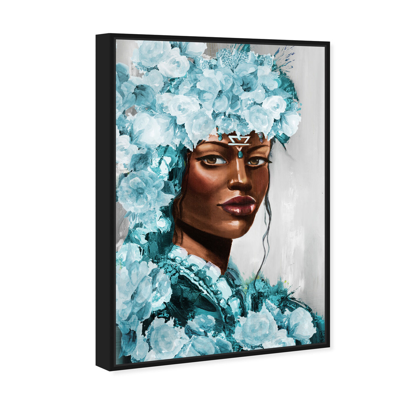 Angled view of Flower Queen Teal featuring people and portraits and portraits art.