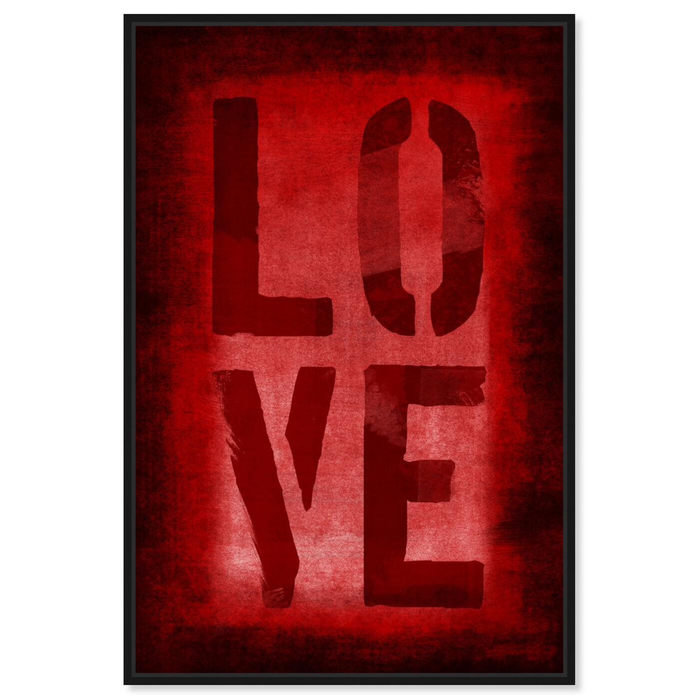 Front view of Four Red Letters featuring typography and quotes and love quotes and sayings art.