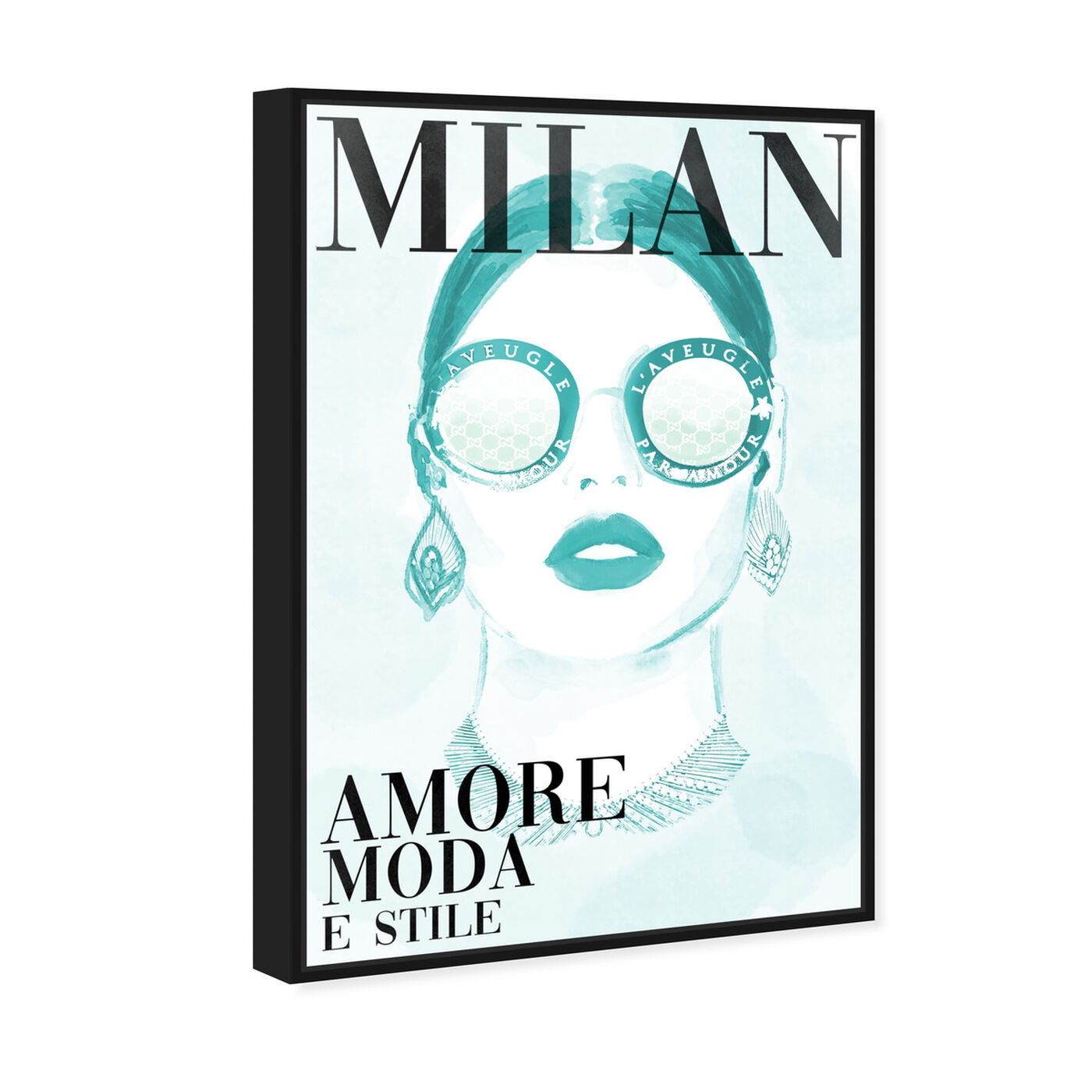 Angled view of Cover Watercolor Milan Aqua featuring fashion and glam and portraits art.