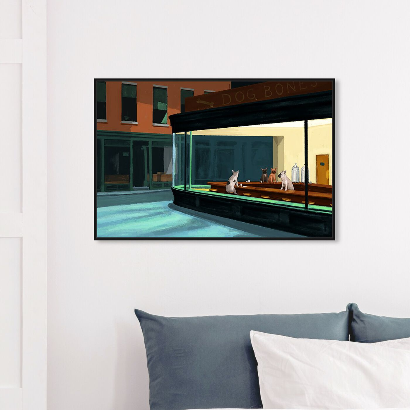 Hanging view of Night Dogs By Carson Kressley featuring animals and dogs and puppies art.