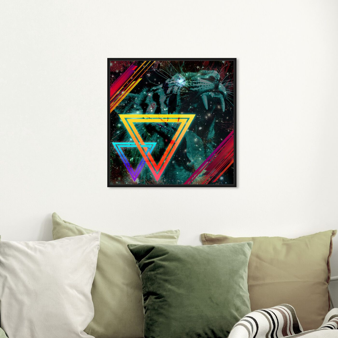 Hanging view of Press Start featuring abstract and geometric art.