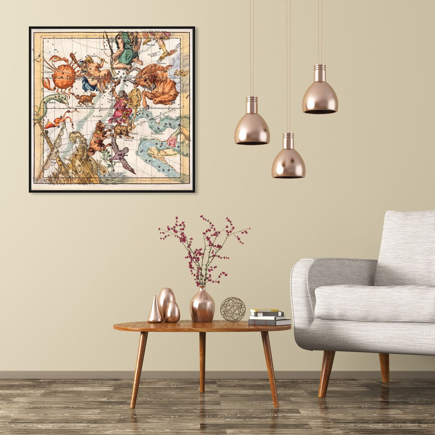 Hanging view of Taurus Cancer and Gemini featuring spiritual and religious and zodiac art.