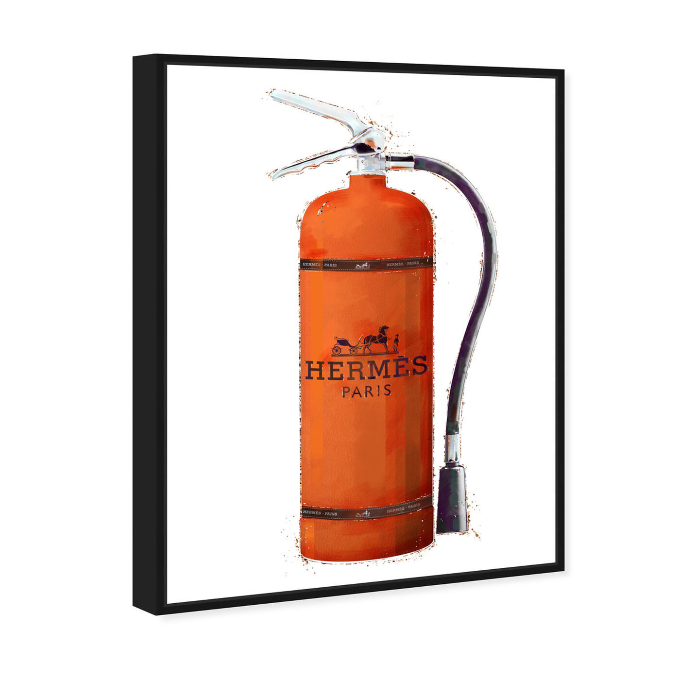 Angled view of Orange Extinguisher featuring fashion and glam and lifestyle art.