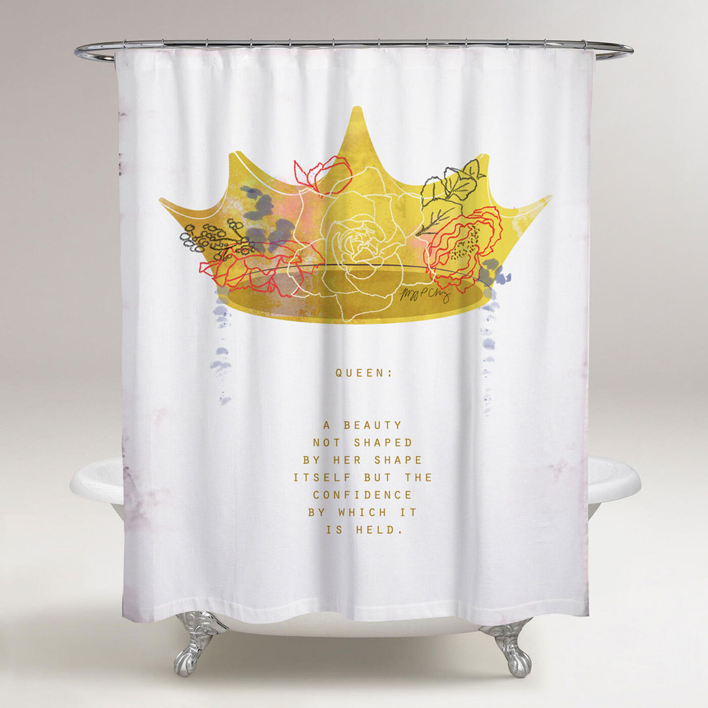Crown Queen Shower Curtain by Maggie P. Chang
