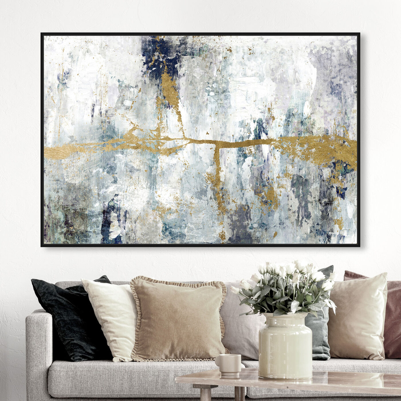 Hanging view of Ocean Divide featuring abstract and paint art.