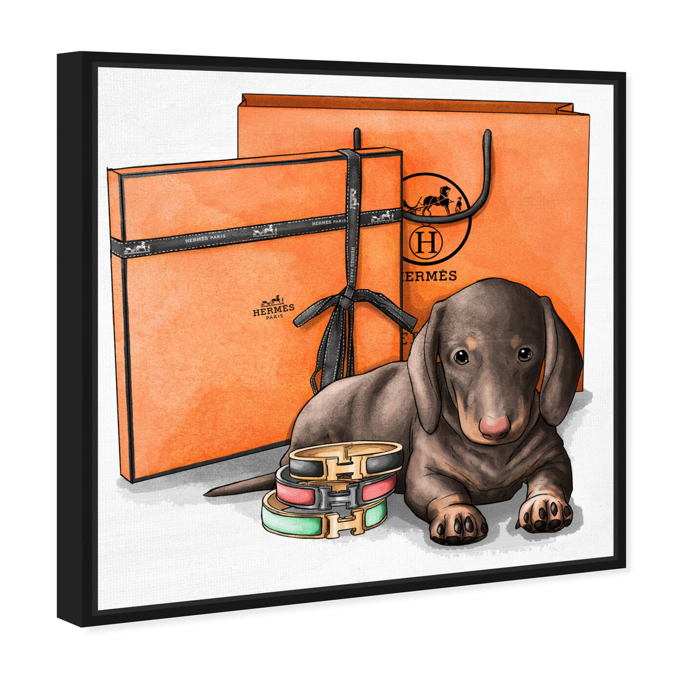 Angled view of Fancy Doxie featuring animals and dogs and puppies art.