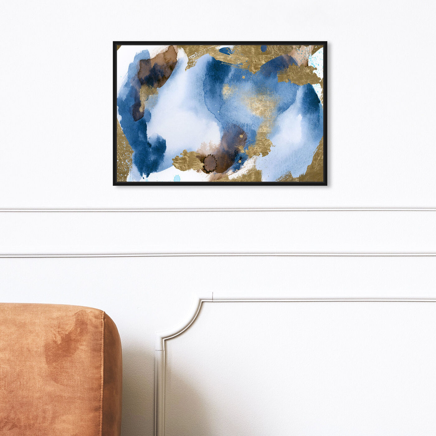 Hanging view of Blue In Gold featuring abstract and watercolor art.