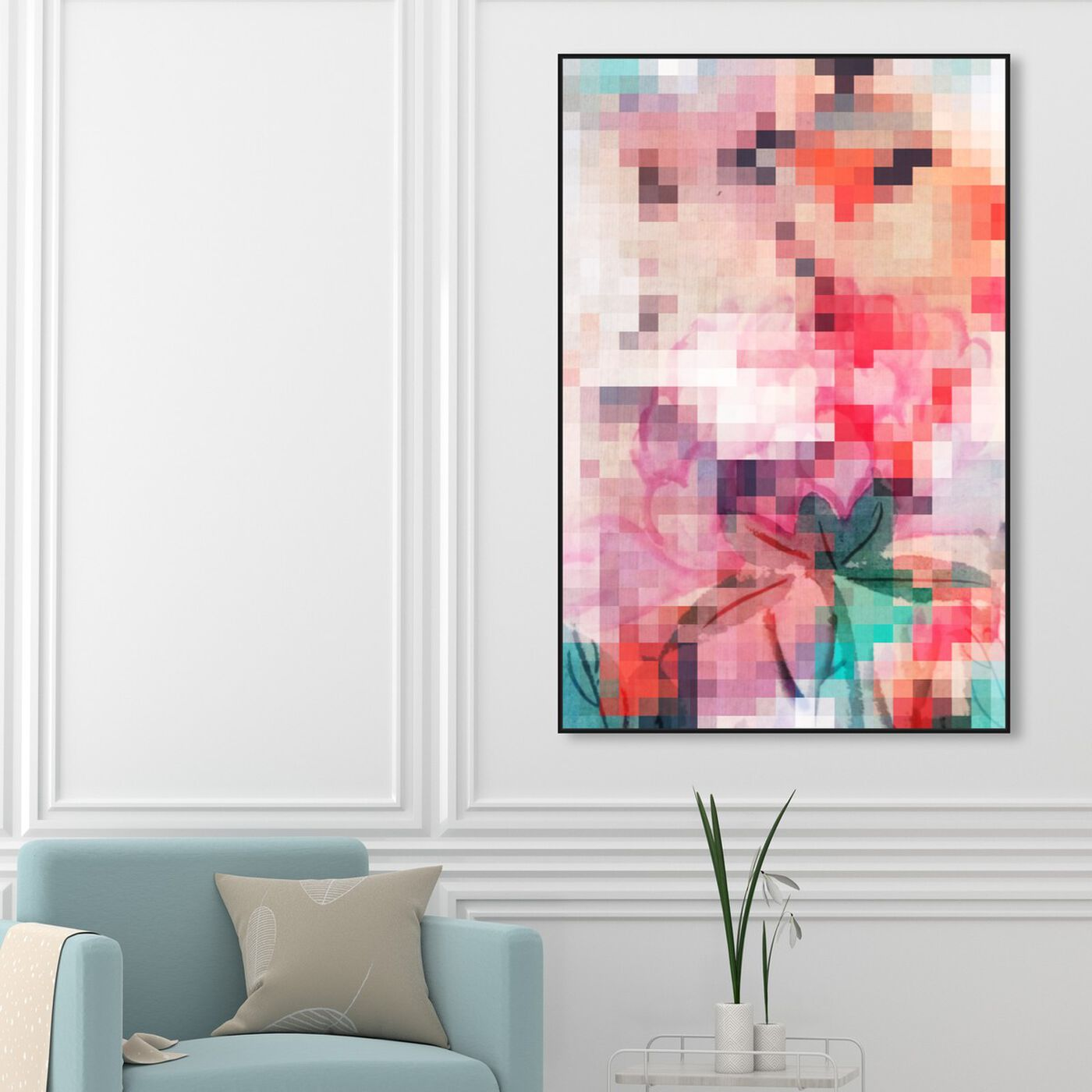 Hanging view of Izumi featuring abstract and paint art.