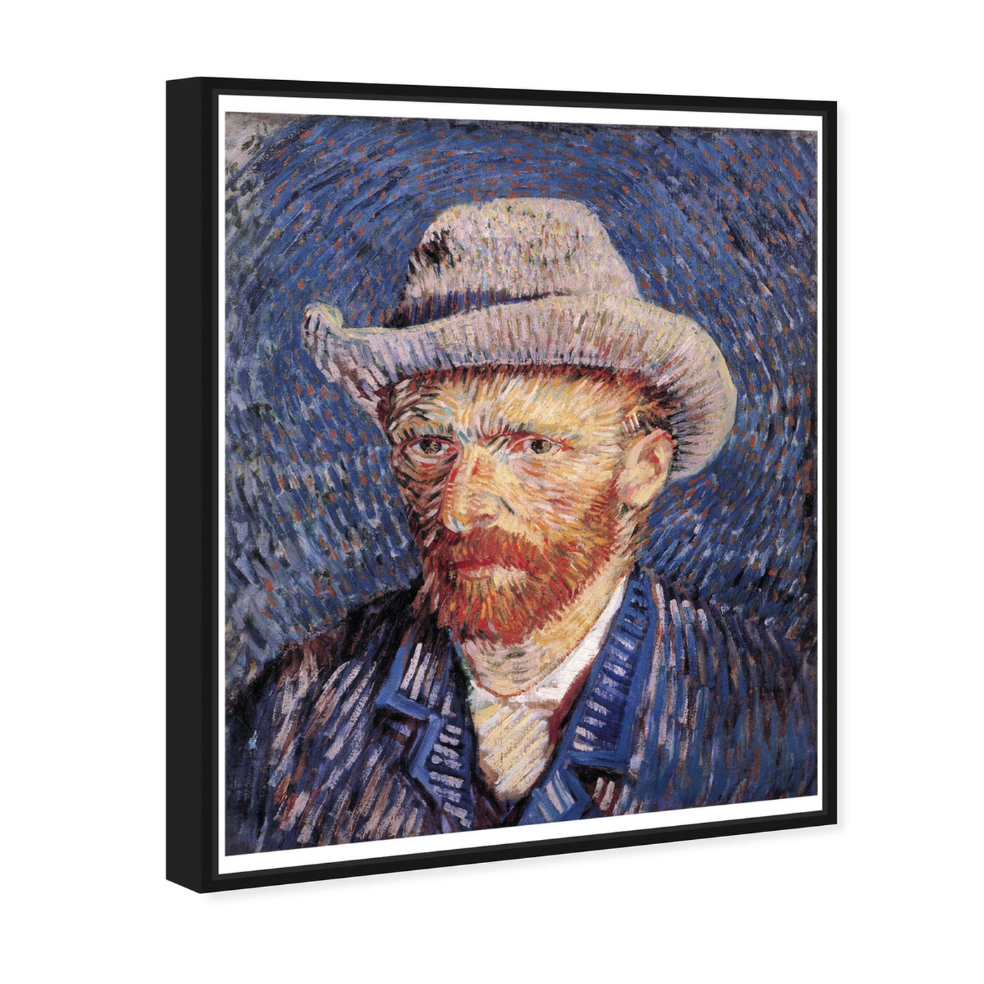 Angled view of Van Gogh - Self Portrait with Felt featuring classic and figurative and impressionism art.