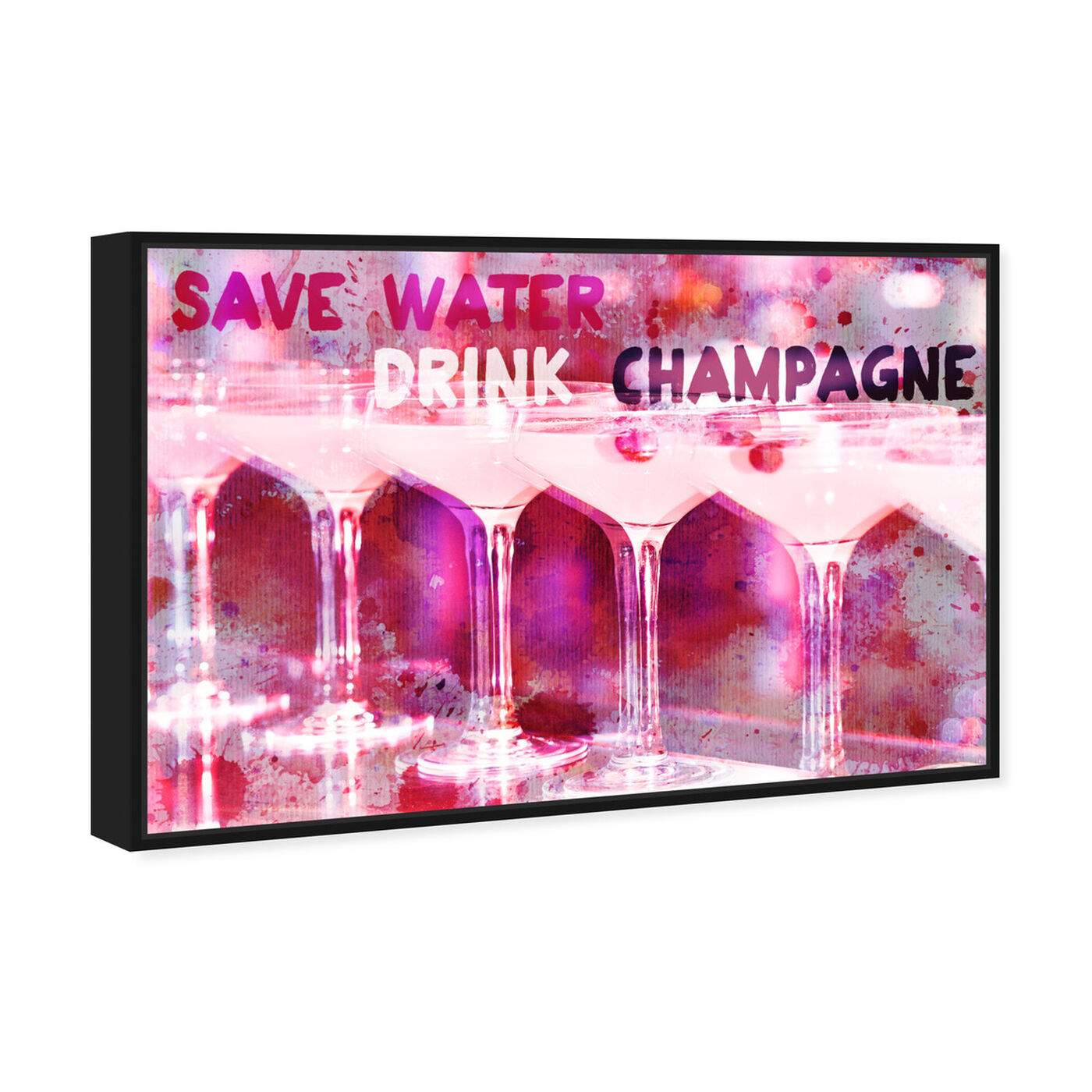 Angled view of Save Water featuring drinks and spirits and champagne art.