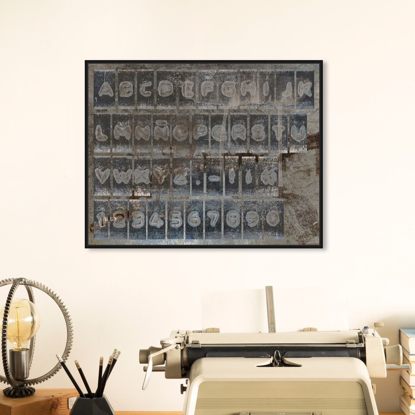 Hanging view of DYMO Alphabet featuring typography and quotes and letters and calligraphy art.
