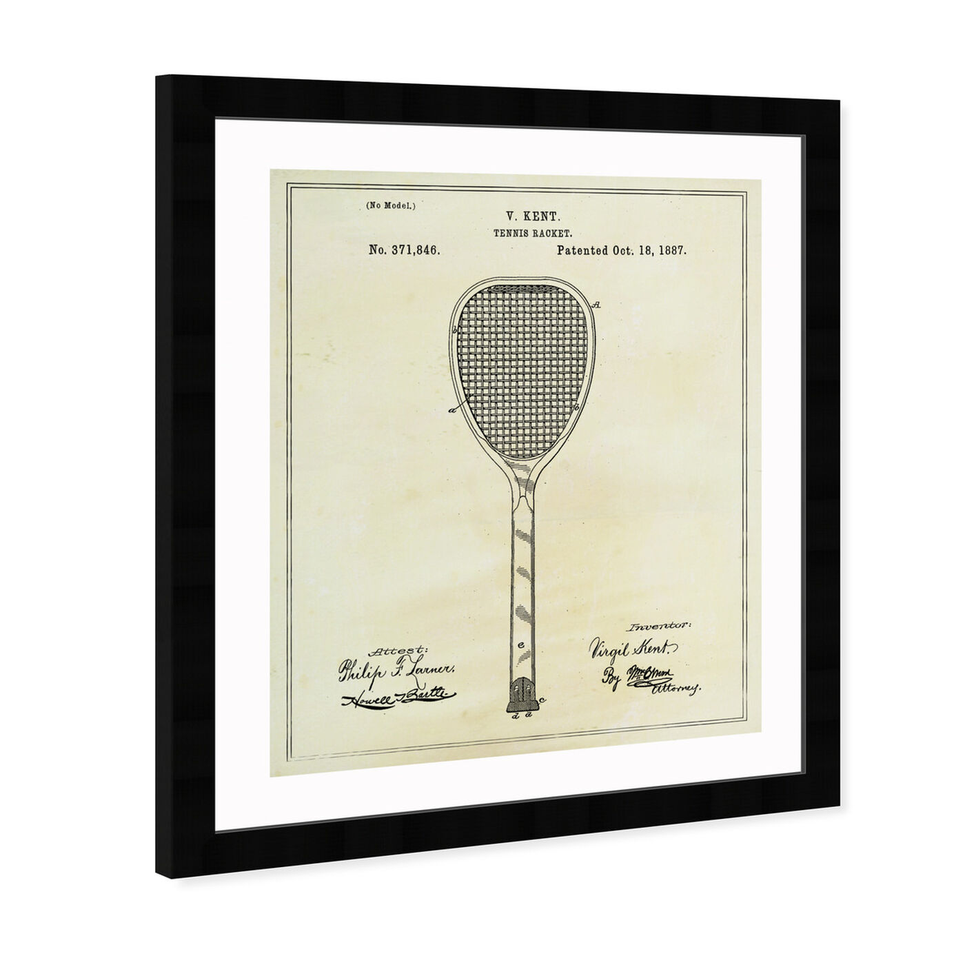 Angled view of Tennis Racket 1887 featuring sports and teams and tennis art.