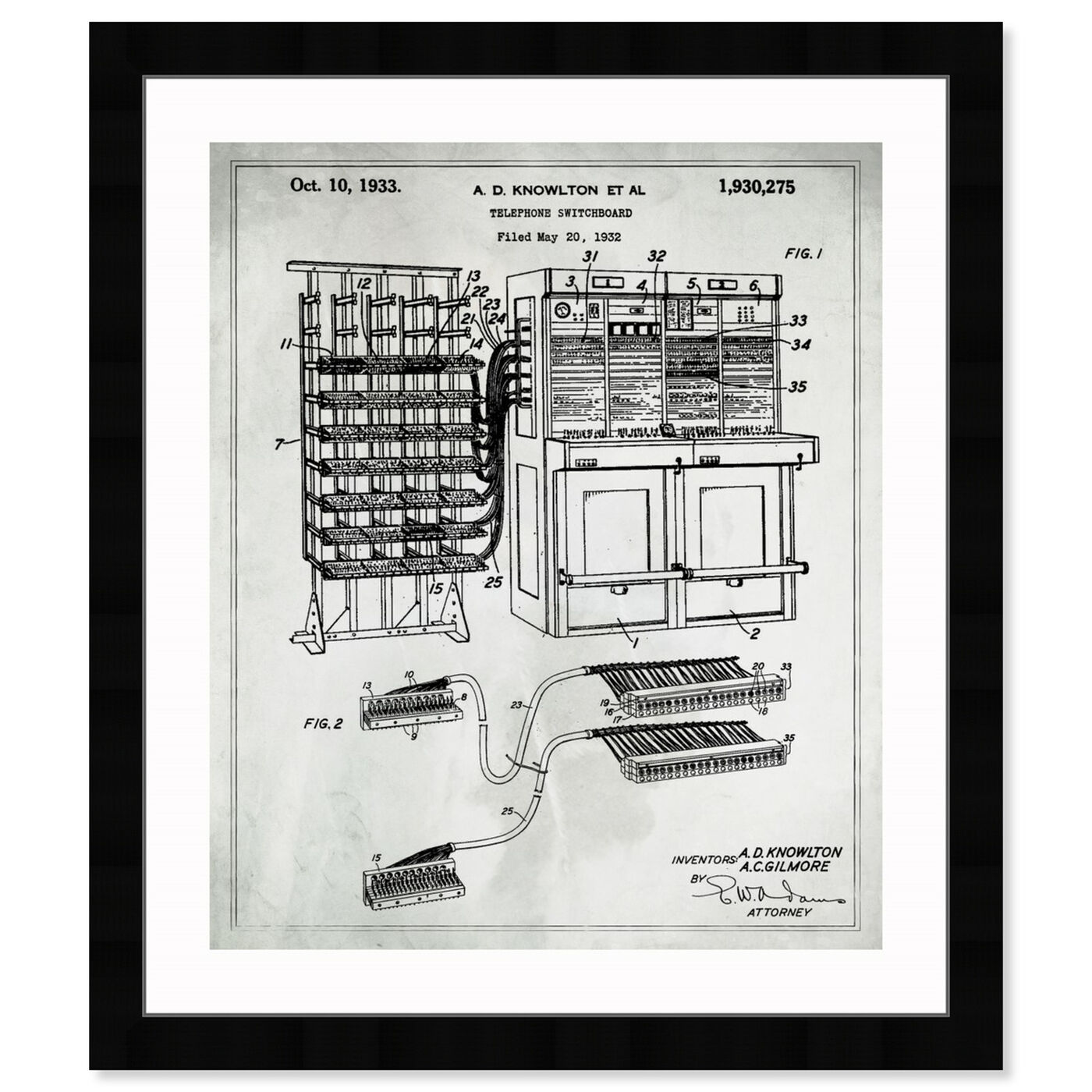 Front view of Telephone Switchboard 1933 featuring symbols and objects and scientist art.